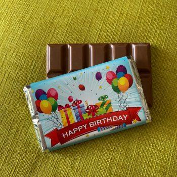 happy birthday with baloons | medium | chocolate bar | sweetalk