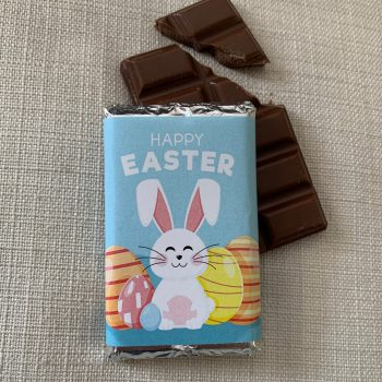 Happy Easter chocolate with | blue background | sweetalk