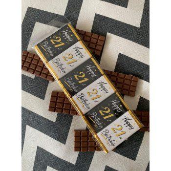 happy 21st birthday   small   chocolate bar   black white gold   sweetalk