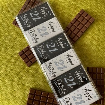 happy 21st birthday | small chocolate bar | black white silver | sweetalk