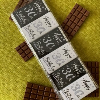 happy 30th birthday   small   chocolate bar   black white silver   sweetalk