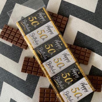 happy 50th birthday small | chocolate bar | black white gold | sweetalk